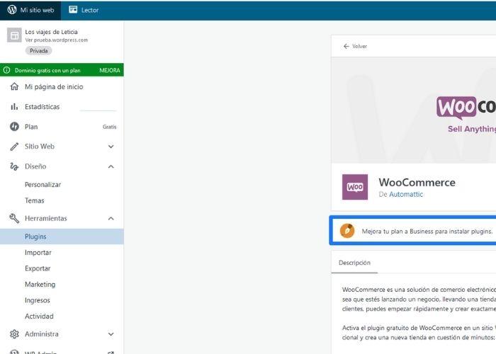 Panel de control WordPress.com