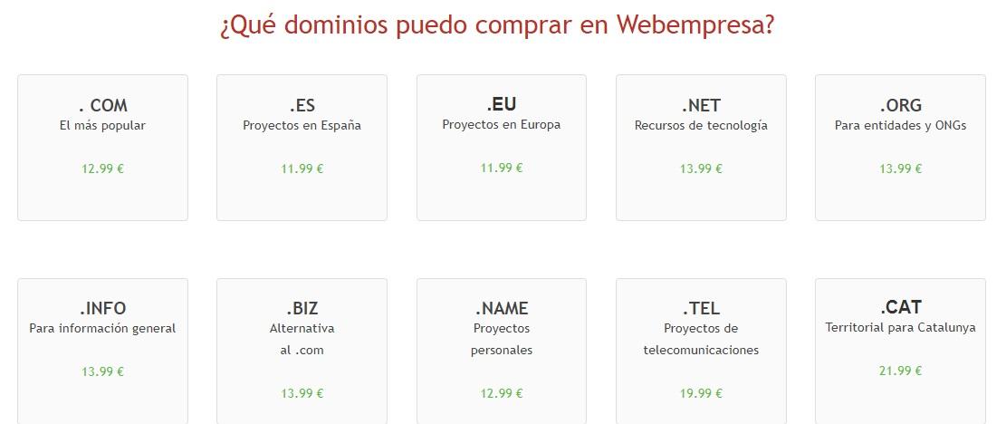 precios dominios webempresa